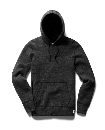 Side Zip Pullover Hoody Mesh Double Knit  |  Heather Black