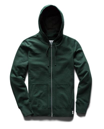 Full Zip Hoodie Midweight Terry Forest Green