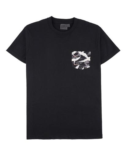 Black + Slub Cranes Pocket Tee Black