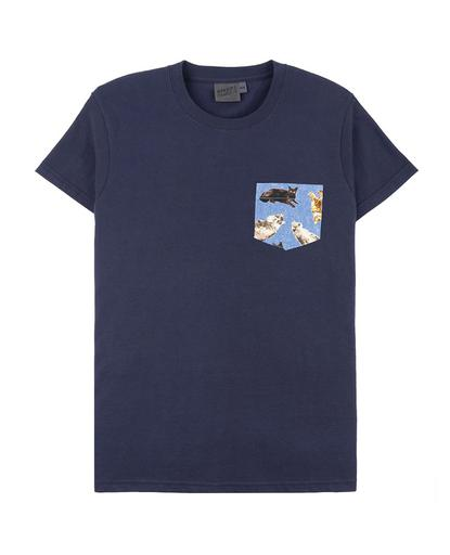 Cats On Denim Pocket Tee Navy