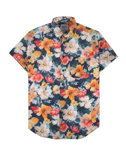 Flower Painting Short Sleeve Easy Shirt - Orange