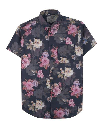 Flower Painting Short Sleeve Easy Shirt - Navy