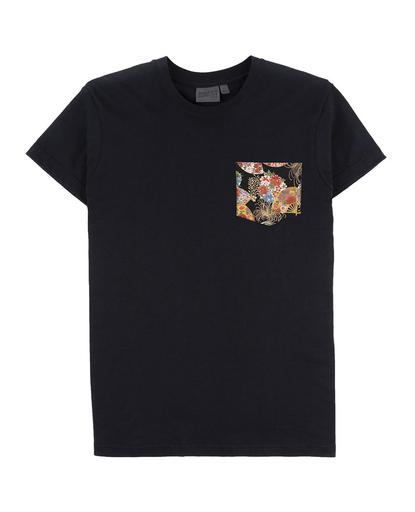 Pocket Tee - Black - Golden Floral Fans