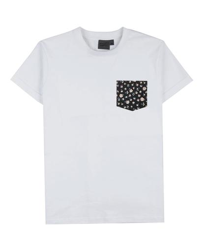 Pocket Tee - White - Indigo Romantic Flower